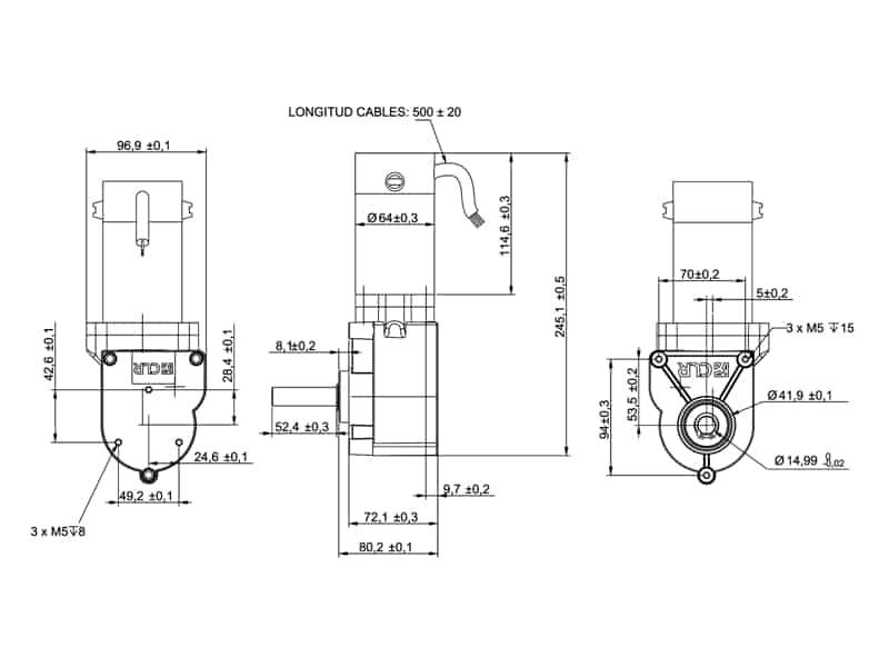 Plano de diseño de un motorreductor de ejes paralelos